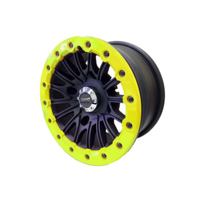 Allied Powersports GPS Extreme 14 inch Aluminum Yellow Beadlock UTV Wheel